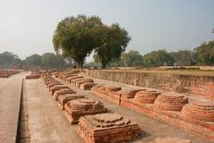 Lange Gasse mit Ziegelsteinmonumenten in der archäologischen Fundstätte mit Ruinen des buddhistischen Klosters lizenzfreie stockfotos