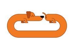 Lange Geïsoleerde Hondtekkel uitgemergeld Huishuisdier vector illustratie