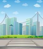 Lange gebouwen in de stad Stock Afbeelding