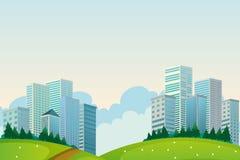 Lange gebouwen dichtbij de heuvels stock illustratie
