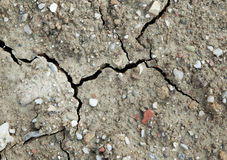 Lange getrocknete Erde, noch feucht nach Regen stockfoto