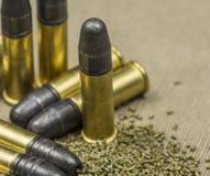 Lange geweer Rimfire Munitie Stock Foto's