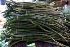 Lange grüne Bohnen an den Märkten Lizenzfreie Stockfotos