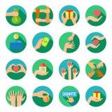 Lange Hände, welche die flachen Ikonen eingestellt geben Lizenzfreies Stockfoto