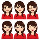 Lange Haar Brunette-Frauen-Ausdrücke lizenzfreie abbildung