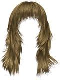 Lange Haare der modischen Frau brünieren blonde beige Farben Schönheits-Gussnaht lizenzfreie abbildung