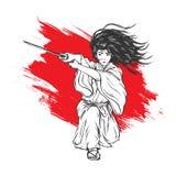 Lange Haarsamoeraien die met Zijn Katana, Hand aanvallen Getrokken Illustratie royalty-vrije illustratie