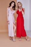 Lange Haut des sexy Gesichtshautabnutzungs-Seidenkleids der Frau der Schönheit zwei hübschen Lizenzfreies Stockfoto