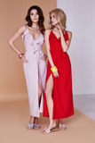 Lange Haut des sexy Gesichtshautabnutzungs-Seidenkleids der Frau der Schönheit zwei hübschen Stockbilder
