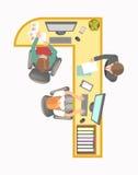 Lange hoekige bureaulijst met computers en arbeiders stock illustratie