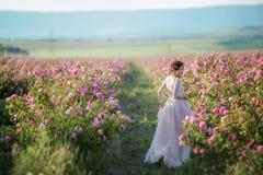 Lange huwelijkskleding, mooi kapsel en een gebied van bloemen stock afbeeldingen
