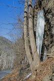 Lange icile dalingen van een bevroren waterval naast een smalle weg Royalty-vrije Stock Afbeelding