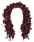 Lange krullende van de de kleurenschoonheid van het haren roze Koper de manierstijl Stock Foto