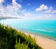 Lange larga van strandPlatja in Salou Tarragona Stock Fotografie