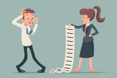 Lange Liste der Shoked-Geschäftsmann-Suffer Emotion Fear-Horror-Krisen-Druck-Geschäftsfrau, zum des Arbeitsbrief-Angebotzeichens  Lizenzfreie Stockfotografie