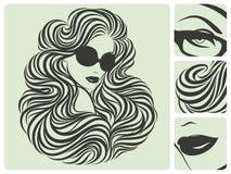 Lange lockige Frisur. stock abbildung