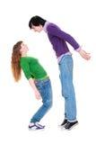 Lange man en korte vrouw stock fotografie