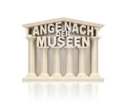 Lange Nacht der Museen (Long Night of Museums in German-language states). German text words as stone marble museum building with columns as symbol of cultural Royalty Free Stock Image