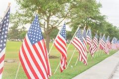 Lange Reihe von Rasen amerikanischen Flaggen auf Yard Memorial Day des grünen Grases stockbild