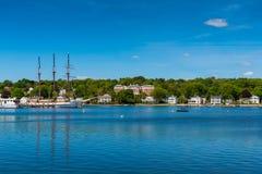 Lange sailship in Mysticus Connecticut Stock Foto's
