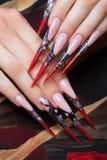 Lange schöne Maniküre auf den Fingern in den schwarzen und roten Farben mit einer Spinne Nageldesign Nahaufnahme lizenzfreie stockfotografie