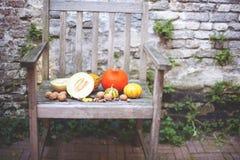 Lange Schatten und blauer Himmel Kürbise, Äpfel, Trauben, Zucchini und Birnen thanksgiving Herbstgemüse auf einem alten Stuhl im  stockfotos