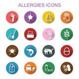 Lange Schattenikonen der Allergien Lizenzfreie Stockfotos