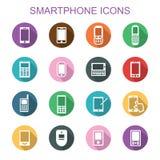Lange Schattenikonen Smartphones Lizenzfreie Stockfotos