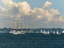 Lange schepen die aan een ras in Gdynia POLEN deelnemen Stock Afbeelding