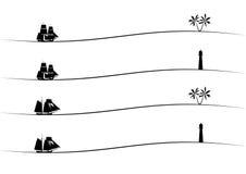 Lange schepen, palm en vuurtoren Stock Afbeelding