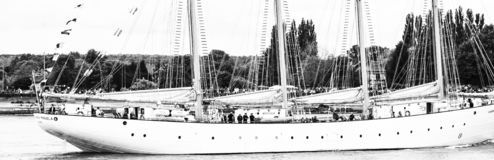 Lange schipparade op de Rivierzegen van Rouen tijdens zwart-witte ARMADA royalty-vrije stock foto's