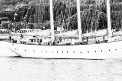Lange schipparade op de Rivierzegen van Rouen tijdens zwart-witte ARMADA stock fotografie