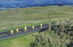 Lange Sicht der Gruppe Radfahrer auf Haleakala, Maui, HI Lizenzfreies Stockbild