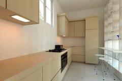 Lange smalle gepaste moderne keuken vector illustratie