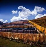 Lange smalle vlag in Tibet Stock Fotografie