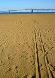 Lange Spuren im Sand lizenzfreie stockbilder