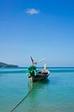 Lange staartboot in de oceaan. Stock Foto's