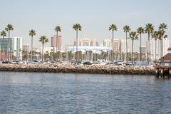 Lange strandoever met cityscape op de achtergrond Stock Foto's