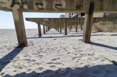 Lange Strandpromenade na Zandige Orkaan Stock Fotografie
