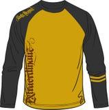 Lange t-shirt sportieve artistiek voor sportmuziek en toevallig vector illustratie
