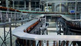 Lange transportband met overvloed van bierflessen die zich langs het bewegen stock video