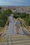 Lange trap van het Badlands de Nationale Park stock fotografie