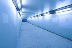 Lange tunnel met lampen Stock Fotografie