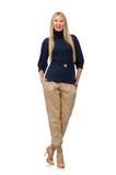 Lange vrouw in blauwe die trui op wit wordt geïsoleerd Stock Afbeeldingen