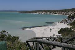 Lange weg fown aan een mooi strand royalty-vrije stock foto