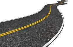 Lange windende weg die op wit wordt geïsoleerd Stock Foto's