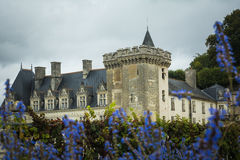 Langeais Castle framed with purple flowers Royalty Free Stock Image