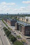 Langeline Ave, Copenhagen. A high level view of the port of Copenhagen, Denmark showing office buildings and tree lined streets Royalty Free Stock Photos