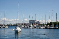 Langelinie-Jachthafen in Kopenhagen stockbild