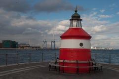 Langelinie lighthouse in Copenhagen Denmark. Langelinie lighthouse in port of Copenhagen Denmark Stock Photography